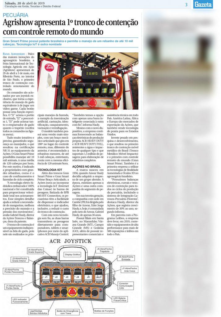 Agrishow apresenta 1º tronco de contenção com controle remoto do mundo